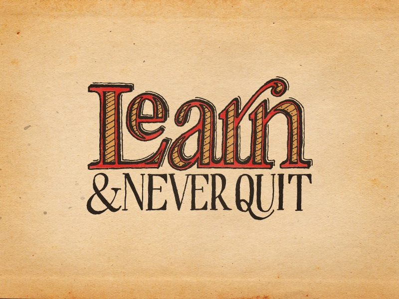 Learn Never Quit Colored Hand Lettering By Seanwes