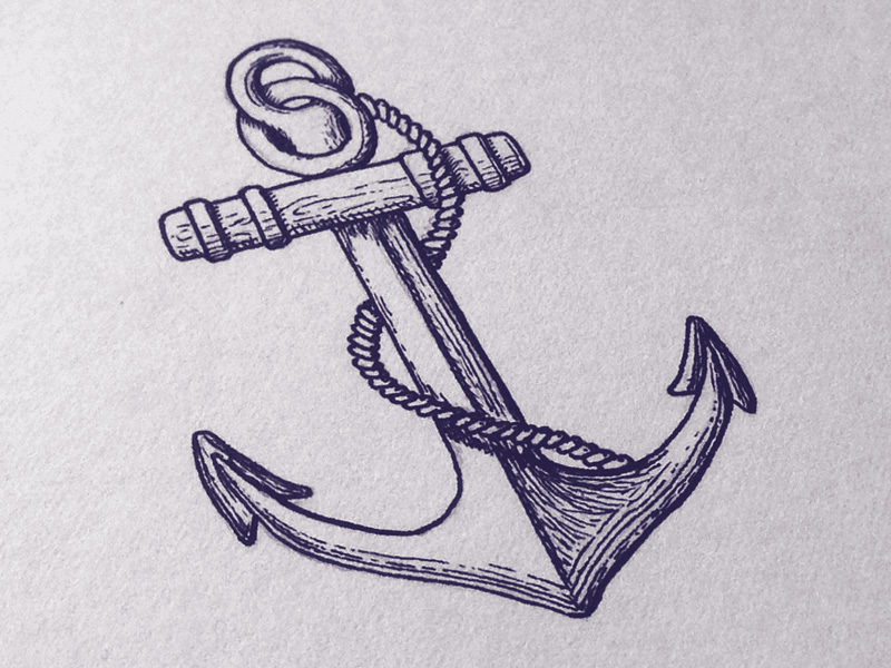 Navy Anchor Sketch Anchor shirt by seanwes