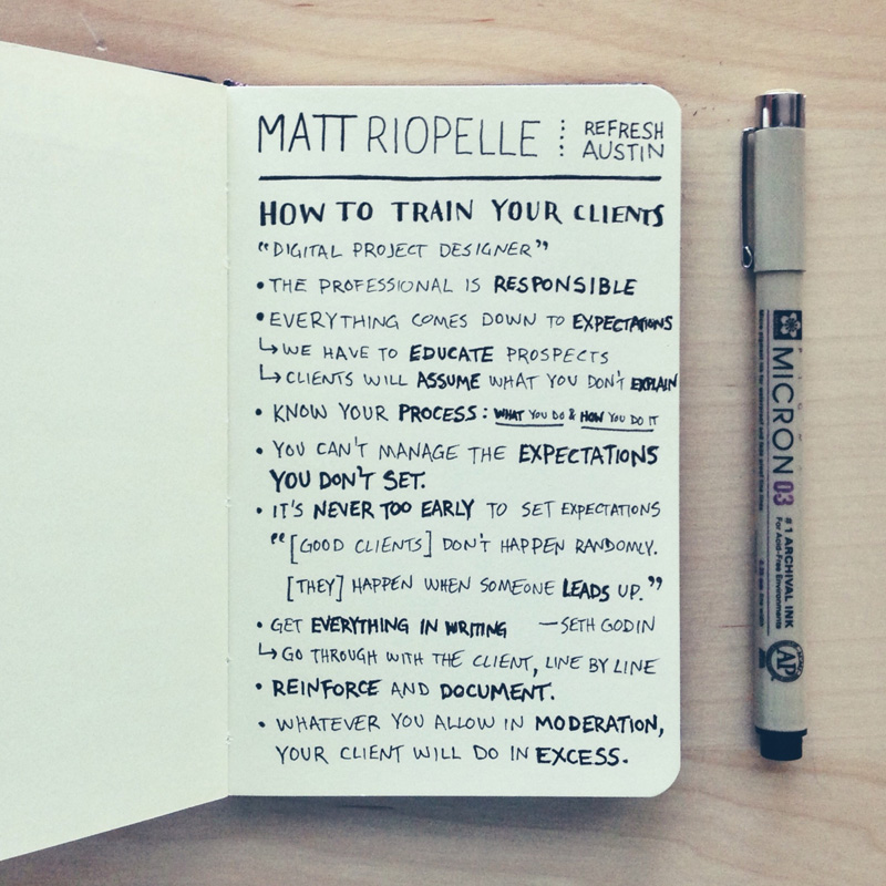 matt-riopelle-how-to-train-your-clients-sketchnotes