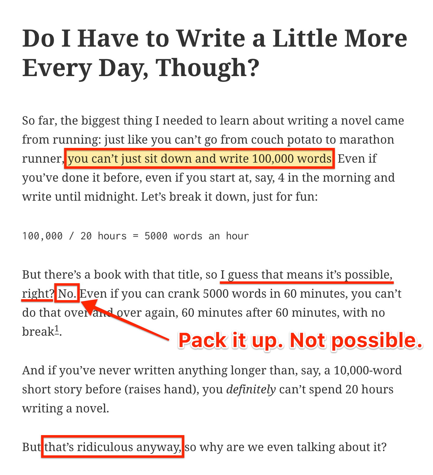 Writing 100,000 words in a day is impossible.