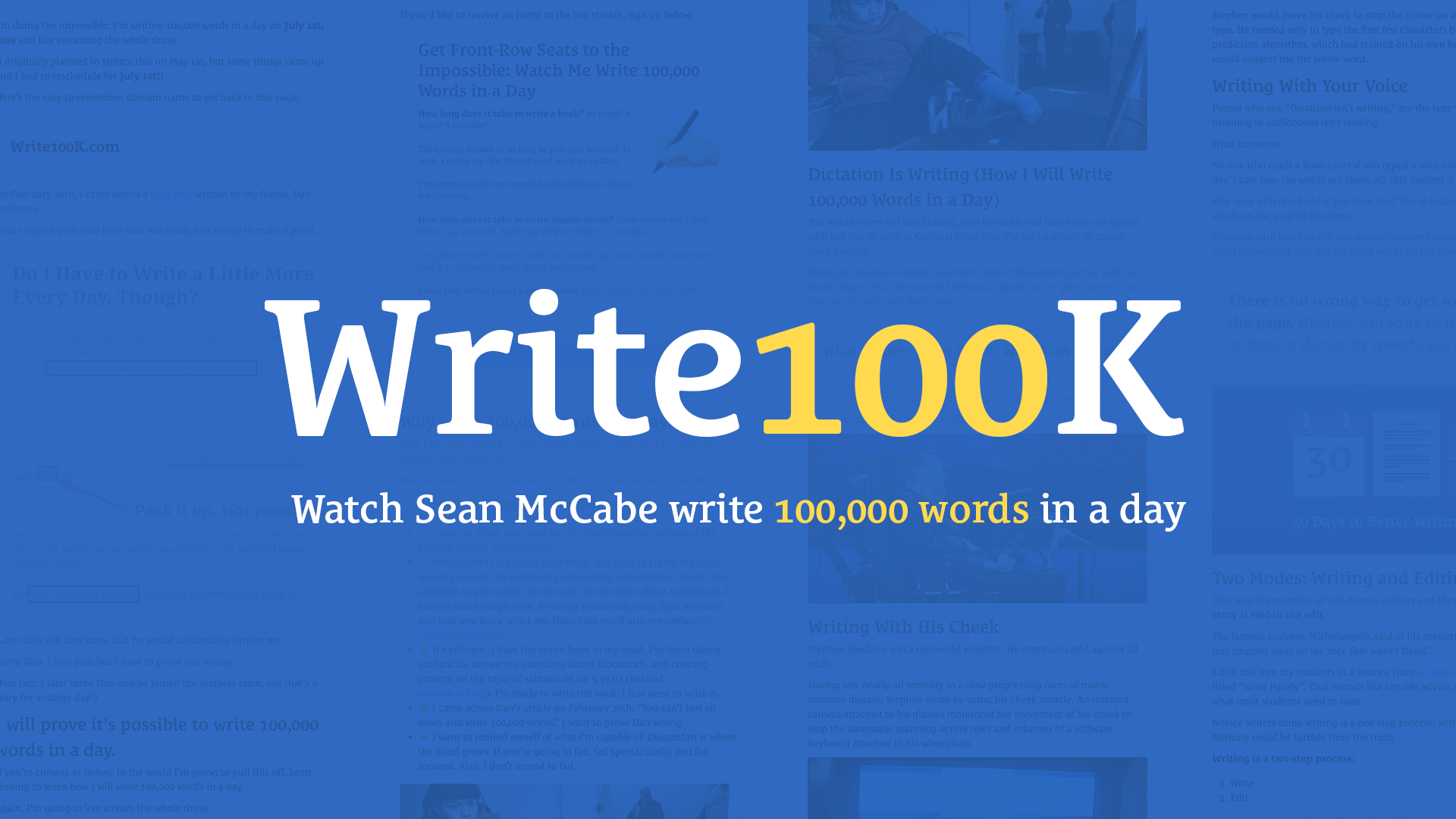 How I'm Preparing to Write 100,000 Words in a Day | seanwes